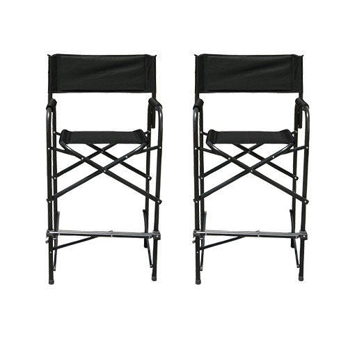 Impact Canopy Director's Chair, Tall Folding Director's Chair, Heavy Duty, Set of 2 Aluminum Frame Chairs, 47 inch, Black (Bar Chair Directors)