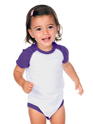 Kavio! Unisex Infants Raglan Short Sleeve Bodysuit (Same I1C0190) White/Grape 18M