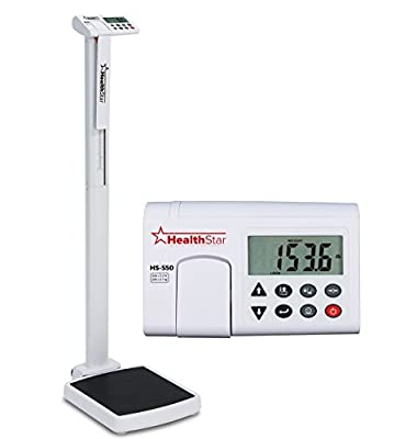 Healthstar Professional Eye Level Digital Physician Scale 550 Pound Capacity, Calculates BMI