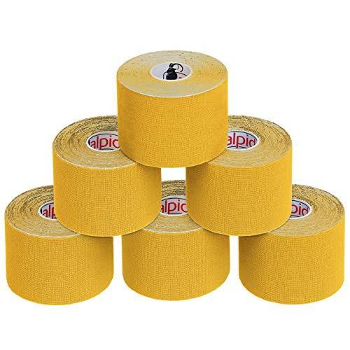 BB Sport 6 Rollos Cinta Kinesiología Tape 5 m x 5 cm Cinta Muscular E- Book Ejemplos Aplicación, Color:amarillo