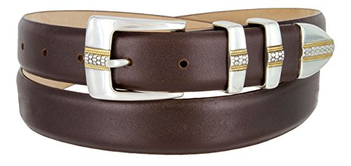 Milan Italian Calfskin Leather Men's Designer Belt (46, Smooth Brown) (Brown Calfskin Belt)