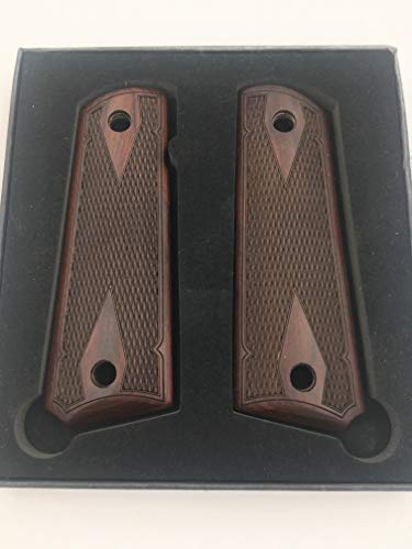 Premium Gun Grips 1911 Colt Full Size Double Diamond Checkered Rosewood w/Black Punisher Medallions