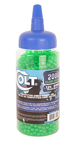 Colt Ultrasonic Competition Grade Airsoft-BBS (2000 Count), Green, 12g