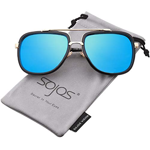 SOJOS Classic Square Aviator Sunglasses Oversized Double Bar Metal Frame SJ1080 with Black Frame/Blue Mirrored Lens