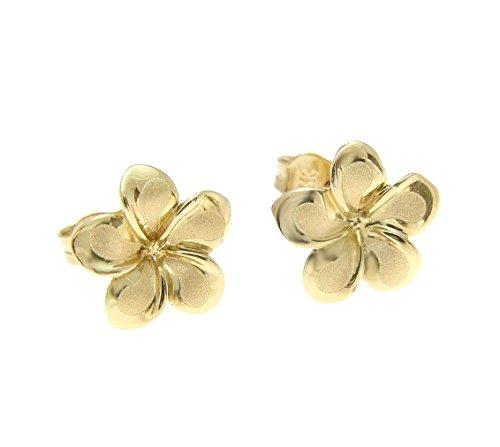 14K solid yellow gold Hawaiian 11mm plumeria flower stud post earrings
