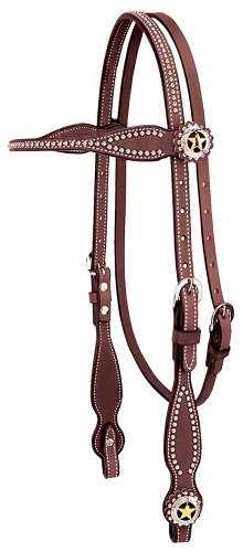 Weaver Leather Texas Star Browband Headstall - Leather English Bridle