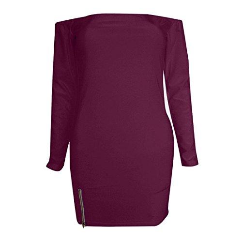 Vestidos de mujer Vovotrade Las mujeres de manga larga vestido de fiesta de hombro mini vestido vino tinto
