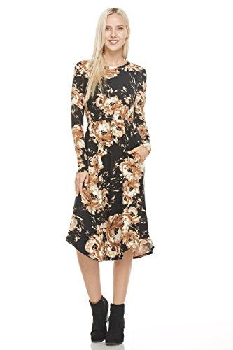 Reborn J's Floral Midi Dress (Medium, Black/Taupe)