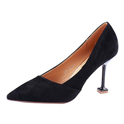 SSBY Ein 9Cm High Heels Mit Einem Feinen Flachen Mund Mode Schuhe Neue Sexy Und Die Katze Die Damen Wind Mit Schuhen black
