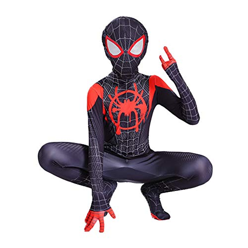 Da Mai Toddler Kids Spider Verse Miles Morales Gwen Jumpsuit Bodysuit Black Spider Tights Zentai Costume]()
