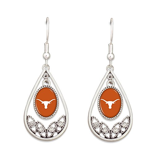 Texas Longhorn Bevo Costume (Texas Longhorns Logo Silver Tone Tear Drop Hoop Earrings with Clear Rhinestones)