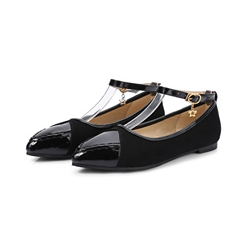 BalaMasa Womens Buckle Assorted Color Low-Cut Uppers Patent-Leather Mary-Jane-Flats Black VbCbgxA