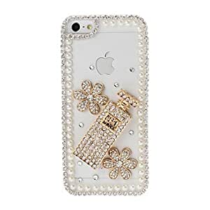 DIY Flowers and Pearl Chain Frame with Rhinestone Pattern Plastic Hard Case for iPhone 5/5S