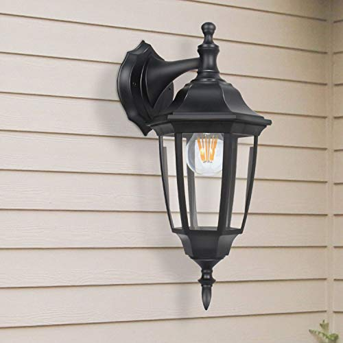FUDESY 2-Pack Outdoor Wall Lanterns,Corded-Electric 12W Plastic LED Exterior Wall Lights,Waterproof Retro Black Porch Light Fixture Wall Mount for Garage,Yard,Front Door,Deck,FDS341B2 by FUDESY (Image #6)
