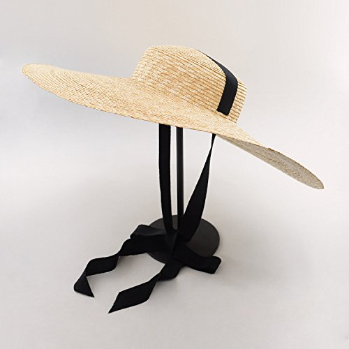 ALWLJ Sun Hat Summer 2017 Boater Hats for Women Wheat Straw Beach Hat with Wide Brim and Ribbon Tie