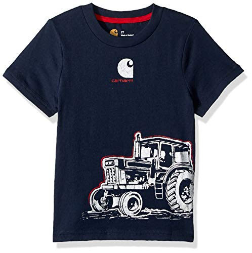 (Carhartt Boys' Little Short Sleeve Cotton Graphic Tee T-Shirt, Tractor wrap (Navy Blazer) 6)
