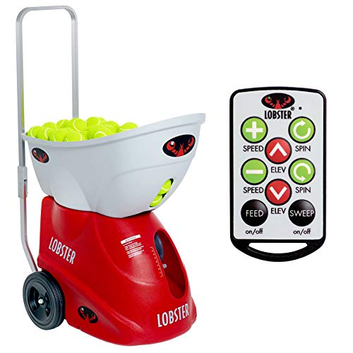 LOBSTER Sports - Elite Two Tennis Ball Machine with Elite 10-Function Remote Control - Triple Oscillation - Lightweight - 4- to 8-Hour Battery Life - 50 Degree Lobs - Optional Accessories