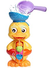 Sitodier Baby Bath Toys for Babies Toddlers Kids 18 Months 2 3 Year Old Boys Girls, Duck Bathtub Toy with Rotatable Waterwheel/Eyes, Strong Suckers, Water Scoop, Fun Toy Gifts for Bathroom