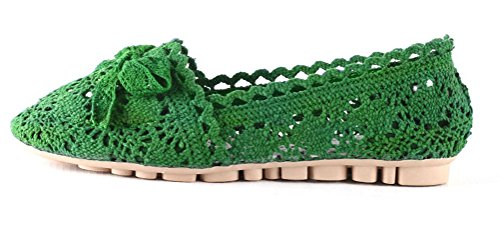 Soojun Womens Cute Soft Crochet Hollow Out Loafer Flats Green