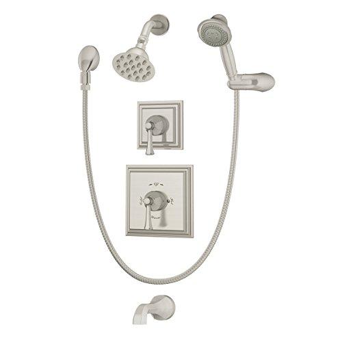Symmons 4506-STN Canterbury 2-Handle Tub/Shower/Handshower Faucet, Satin Nickel ()