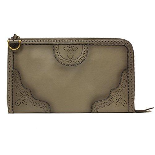 Gucci Grey Duilio Brogue Zip Oversized Leather Clutch Handbag Bag