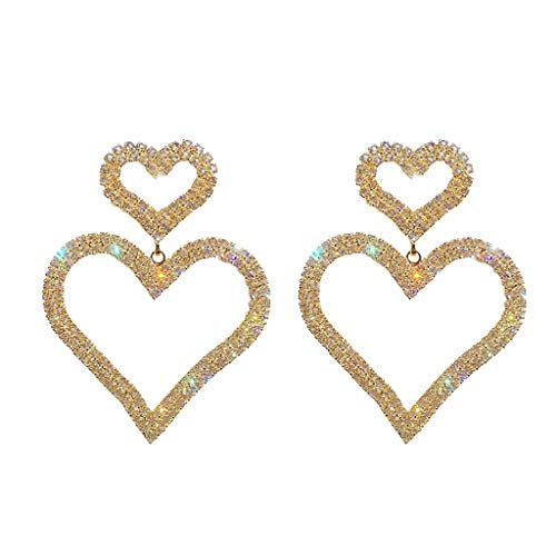 DDLmax Dangle Rhinestone Earrings for Women - Double Heart Sparking Rhinestone Geometric Drop Dangling Earrings for Gifts