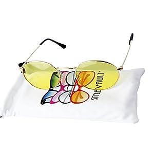 V3123-vp Vintage Style Oval Round 90s Retro Metal Small Lens Sunglasses (C059 Gold-Lemon Yellow, UV400)