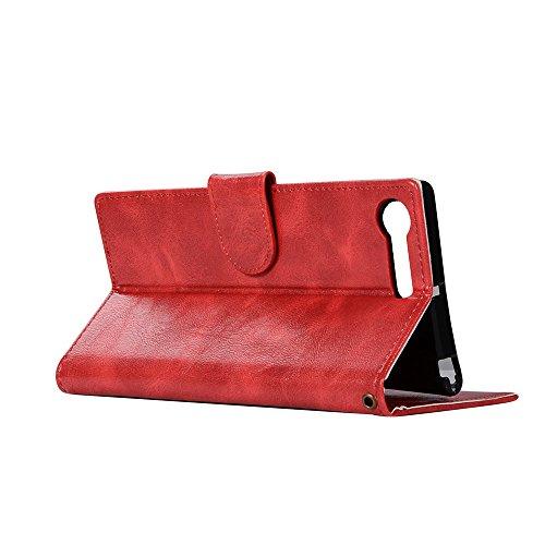 Funda Sony Xperia XZ Premium [Happon] Ranuras para Tarjetas y Billetera Carcasa PU Libro de Cuero Flip Leather Cierre Magnético Soporte Plegable para Sony Xperia XZ Premium (Rojo) Rojo