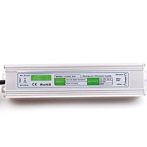 CISNO Dc 12v 10w-200w Transformer Power Supply Driver Led Light Waterproof Ip67 (60 Watts)