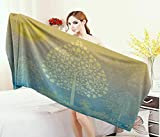 Anniutwo Art,Baby Bath Towel,Thai Pattern Design Illustration Gold Tree Oriental Culture Asia Eastern Ways,Print Wrap Towels,Gold Sky Blue Size: W 10'' x L 39.5''