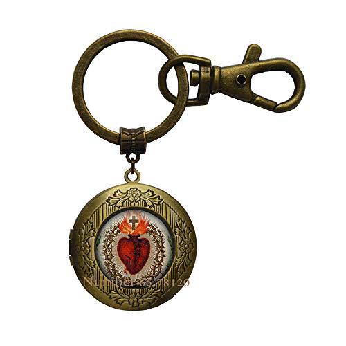 Sacred Heart Locket Keychain Heart Locket Key Ring Glass Dome Statement Locket Keychain Christian Jewelry,Christian Locket Keychain,BV357 (V2)