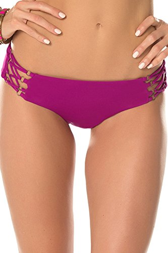 Becca by Rebecca Virtue Women's Tab Side Hipster Bikini Bottom Mulberry L