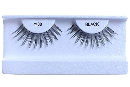100 Pairs 100% Human Hair False Eyelashes Natural Black #38 by BULKLASHES