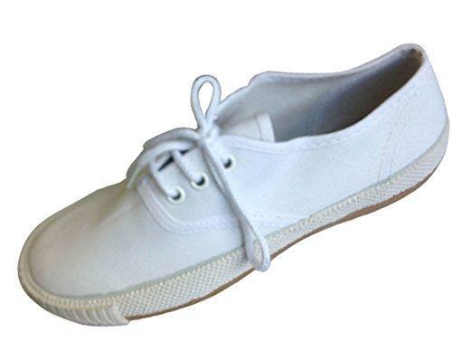 Neu Kinder Leinwand weiß Schuluniform Schuhe PE Pumps Turnschuhe Schnürer