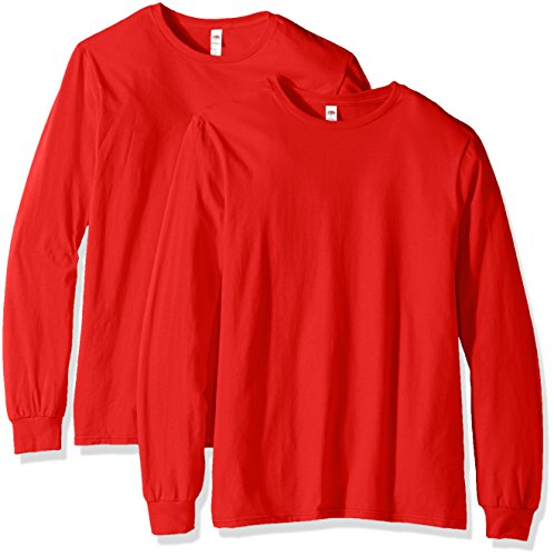 Fruit of the Loom Men's Long Sleeve T-Shirt (2 Pack), Fiery Red, XXX-Large