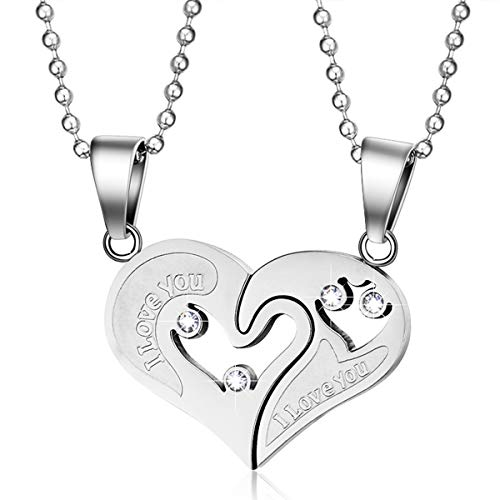ChooKerr Couples Necklace for Him and Her Boyfriend and Girlfriend I Love You Broken Heart Necklace Relationship Necklace for Couples Titanium Stainless Steel 20 Inches Chain