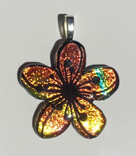 Dichroic Fused Glass Pendant - Yellow Orange Plumeria Flower Laser Engraved Etched Pendant