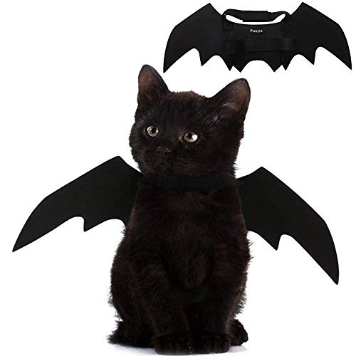 Pet Cat Bat Wings for Halloween Party Decoration, Puppy Collar Leads Cosplay Bat Costume,Cute Puppy Cat Dress Up Accessories