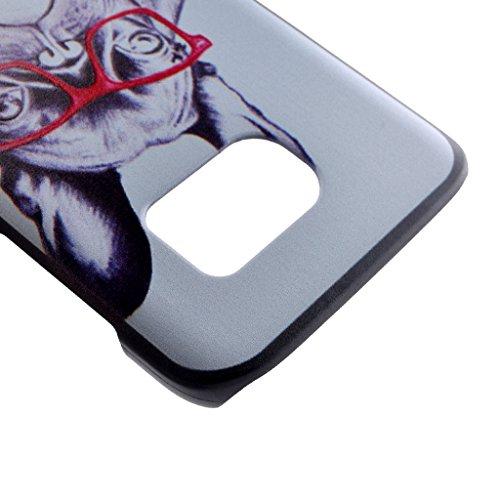 PowerQ M colorida de la caja Plástico Plastic de la serie del patrón Caso Case < Finger He is Mine - para Samsung Galaxy S7 >                                      impresión del modelo de impresión Dibujo caja del teléfono celular móvil d Glasses dog