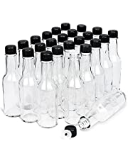5 OZ Mini Hot Sauce Bottles - 24 Pack Anwoi Empty Clear Glass Woozy Bottles with Lids Small Beverage Wine Bottles Canning Olive Oil Bottles for Kitchen