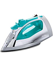 Sunbeam Steammaster Steam Iron | 1400 Watt Large Anti-Drip Nonstick Stainless Steel Iron with Steam Control and Retractable Cord, Chrome/Teal