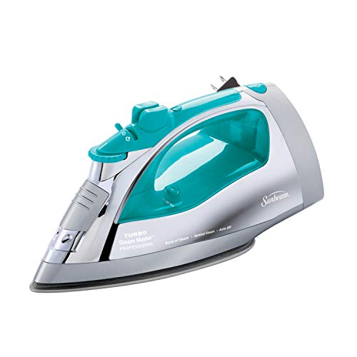 (Sunbeam Steammaster Steam Iron | 1400 Watt Large Anti-Drip Nonstick Stainless Steel Iron with Steam Control and Retractable Cord, Chrome/Teal)