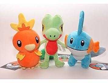 3pcs/lot Pokemon Treecko + Torchic + Mudkip juguete de peluche Animal de peluche muñecas