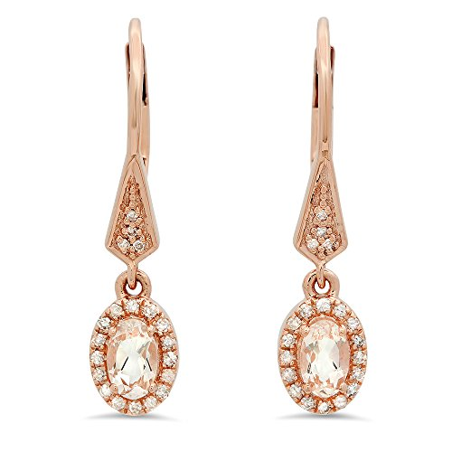 Dazzlingrock Collection 10K 5X3 MM Each Oval Morganite & Round White Diamond Ladies Halo Style Dangling Earrings, Rose Gold