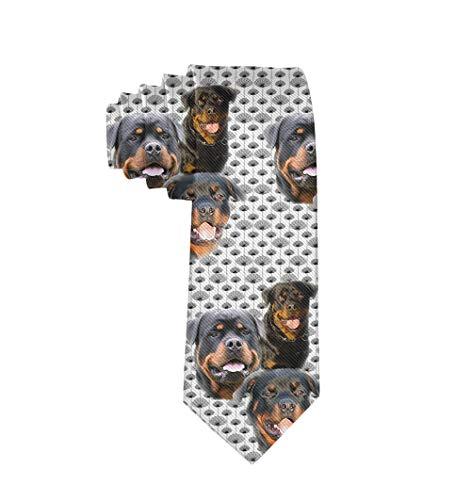 Jinkela Men's Skinny Tie Rottweilers and Thistles Fashion Causal Floral Printed Silk Necktie
