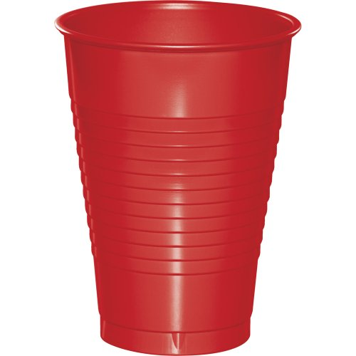Touch of Color Premium Plastic Cups, 240-Count, Classic Red