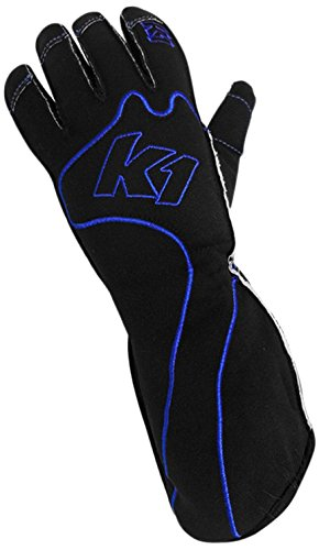 K1 Race Gear RS1 Reverse Stitch Kart Racing Gloves (Blue/Black, Large) ()