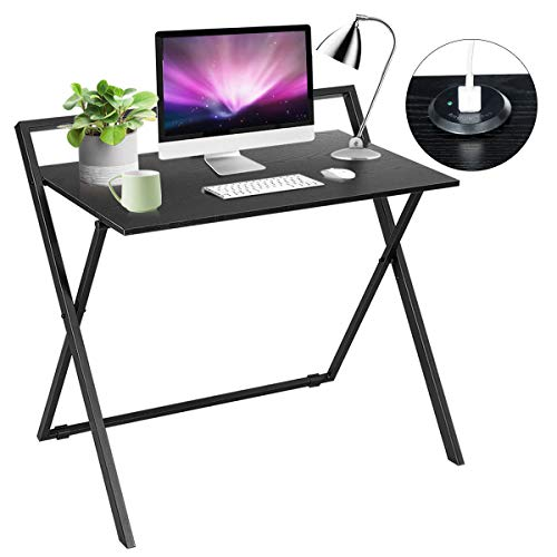 Tangkula Folding Computer Desk with Dual USB Ports, PC Laptop Table, Space Saving Study Desk, Reading Writing Workstation with Metal Frame MDF Board, No Assembly, Black