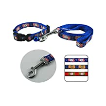 Strimm Classic Holiday Embroidered Adorable Bear Animal Print Pattern Nylon Webbing Puppy Dog Cat Collar and Leash Strap Set with Jingle Bell Quick Release Buckle for Small Girly Boy Canine Kittens