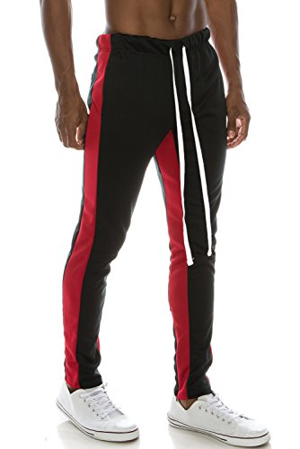 Mens Slim Fit Side Striped Color Jogger Pants W/Ankle Zipper BlackRed S (Ankle Zipper Side)